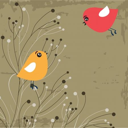 CutCute greetings card with birds on a swinge greetings card with birds on a swing Vector