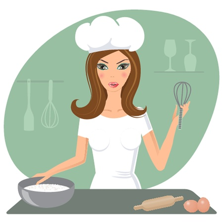 A happy very busy multitasking housewife Vector