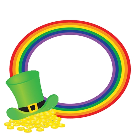 triskel: Black vector pot of leprechauns gold with lucky clovers