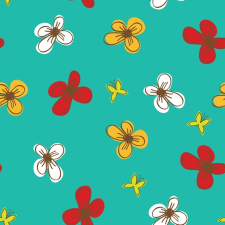 Seamless pattern with abstract hand drawn flowers photo