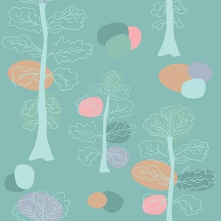 Pastel trees seamless pattern. photo