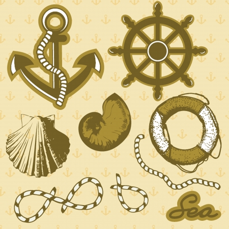 Vintage marine elements set. Includes anchor, rope, wheel, and shells. photo