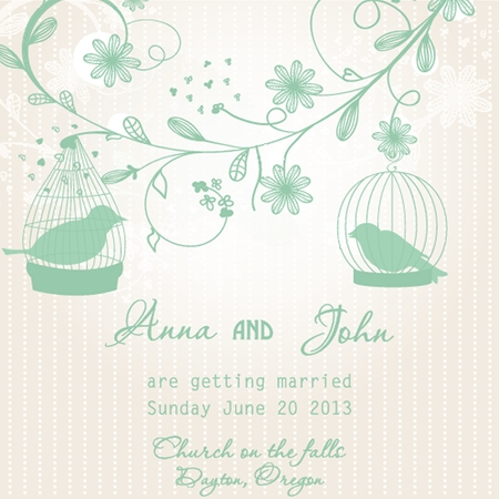 Wedding invitation with two cute birds in cages photo