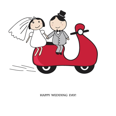 Bride and groom on the red scooter. Wedding card in vector version.