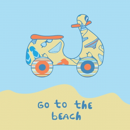 beach side: Summer illustration with scooter on the beach side.