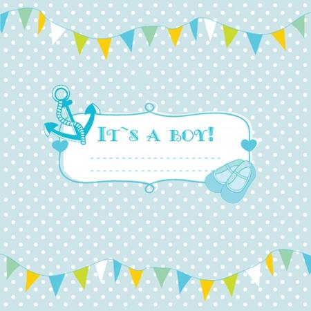 flowers boy: Baby boy arrival announcement card.