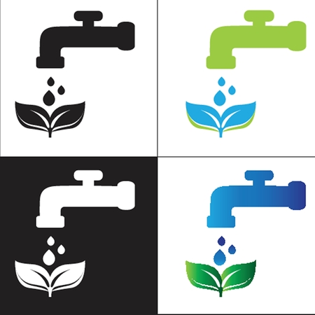 Set water tap with drop - eco sign photo