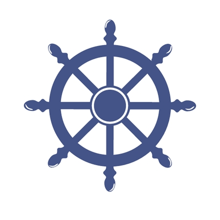 vector wheel: Ship Wheel Banner isolated on white background. Vector Illustration Stock Photo