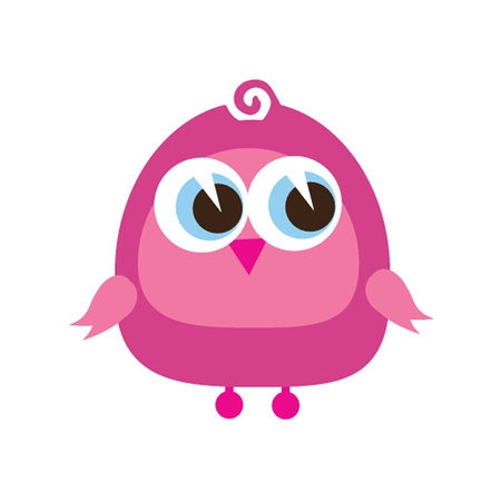 breast comic: Drawing of a cute cartoon bird standing Stock Photo