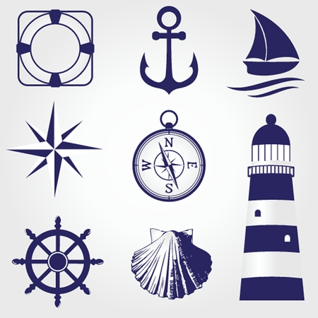 Set of vintage nautical labels, icons and design elements photo