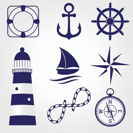 Set de vintage étiquettes nautiques, des icônes et des éléments de conception