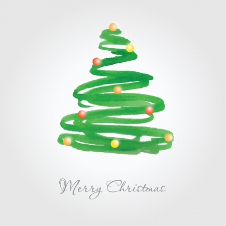 Christmas card with watercolor painted fir tree with multicolored balls Banque d'images