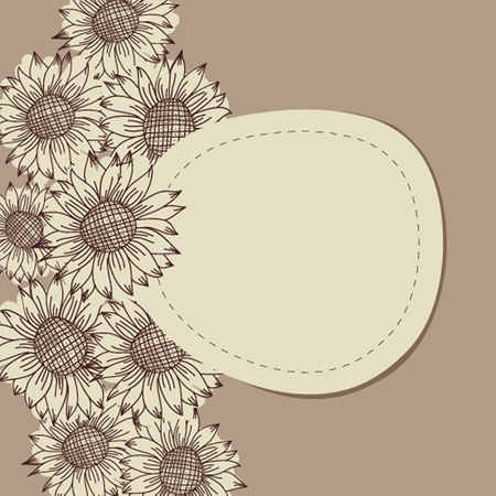 seamless vintage ornament with sunflowers photo
