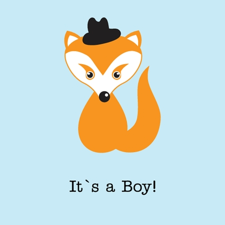 Baby boy fox arrival announcement card. photo