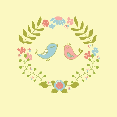 Wedding invitation or greeting card design with cute floral wreath and birds couple. photo