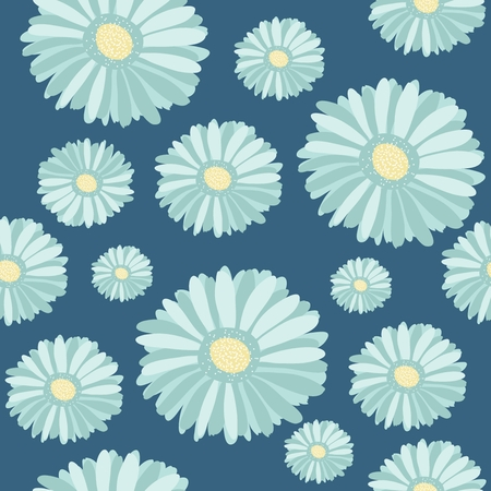 Seamless pattern with abstract drawn flowers photo