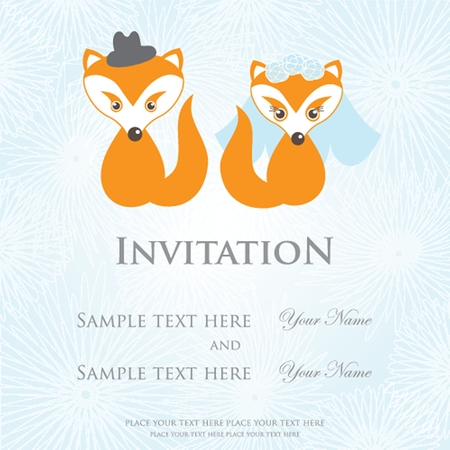 Hand drawn wedding fox couple on  background photo