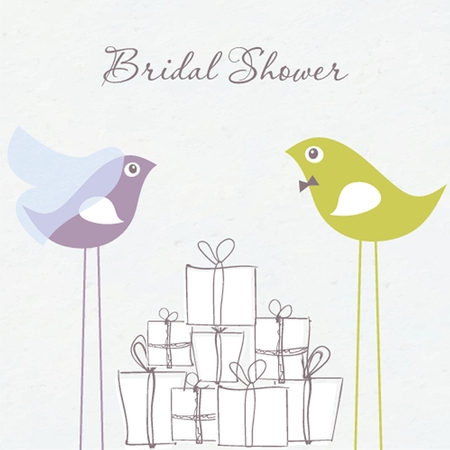 Bridal shower invitation with two cute birds in bride and groom costumes sitting on the present boxes photo