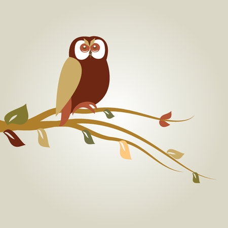 Autumn background with owl on tree branch Vector