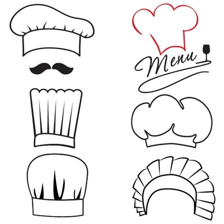 cook hats: Conjunto de diversos jefes y cocinero sombreros