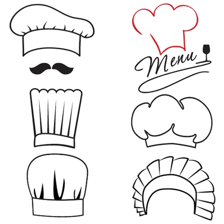 Set of different chiefs and cook hats Vector