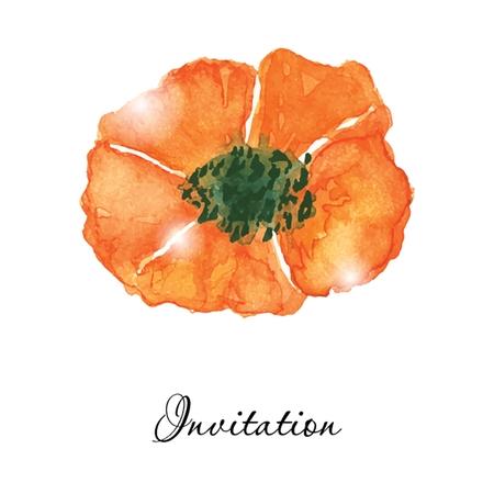 aquarel: Poppy flowers. Greeting or invitation vector card. Watercolor drawing. Hand drawn aquarel illustration.