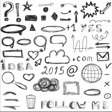 sketched icons: Conjunto de iconos sociales y digitales de boceto, vector del fondo.
