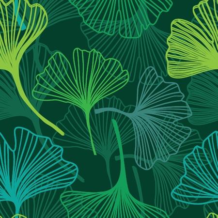 Seamless decorative flower background with ginkgo biloba Vector Illustration