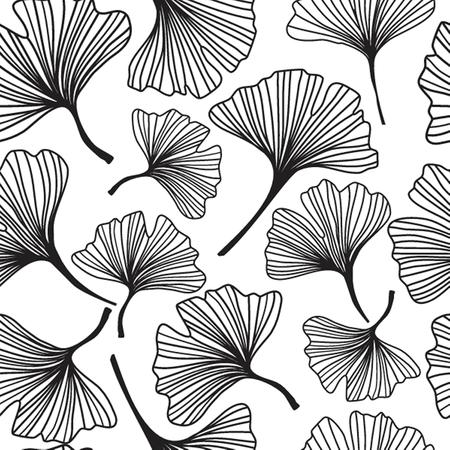 ginkgo leaf: Seamless decorative flower  background with ginkgo biloba