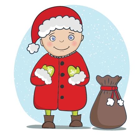 サンタ クロースのグリーティング カードを持つベクトル イラスト。クリスマスと新年の 2015 年の休日の背景。  イラスト・ベクター素材
