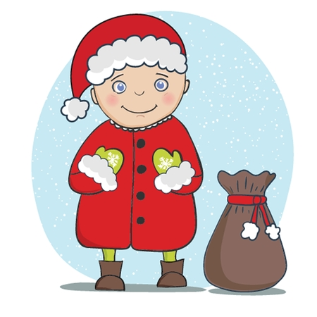 Vector illustration with Santa Claus greeting card. Christmas and New year 2015 holiday background. Фото со стока - 33590821