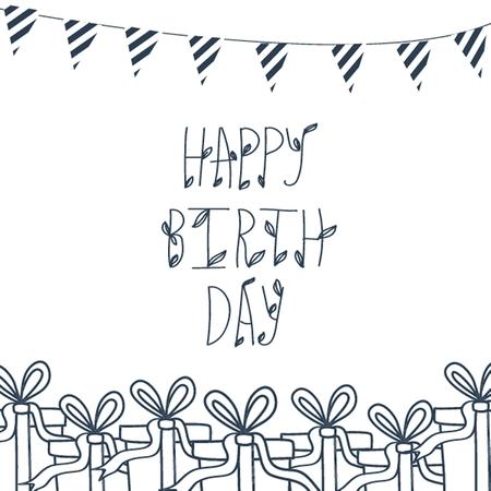 Birthday cute greeting card with box. Vector invitation Vector