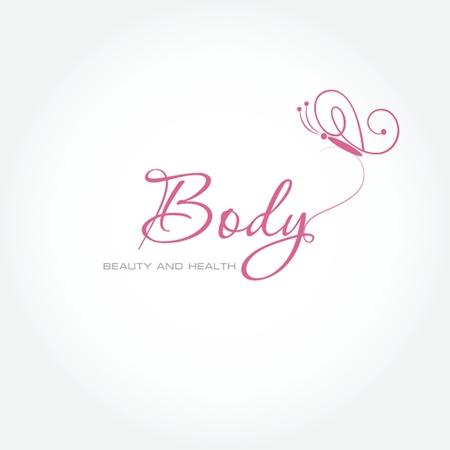 saludable logo: Ilustraci�n vectorial con el s�mbolo de la mariposa. Dise�o de logotipo. Por sal�n de belleza, centro de spa, centro de salud Vectores