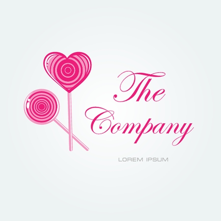 confectioner: Vector card with lollipop candy and place for your company name. Logo sign for cafe, candy shop, buisiness card or sweet brand