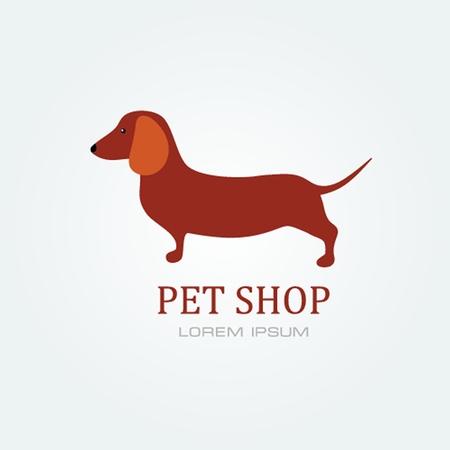 Pet shop Dog standing silhouette vector logo design template. Illustration
