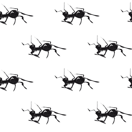 Ants. Hand drawn vintage vector seamless pattern. Vector
