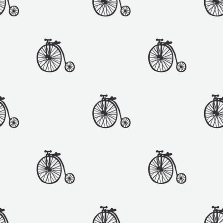 Hand retro drawn bicycles vector seamless pattern
