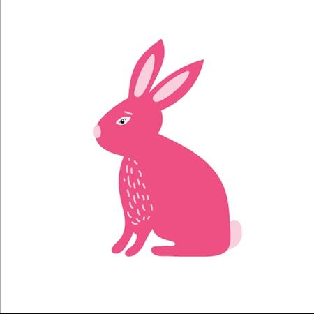 Cute little pink bunny rabbit . Vector illustration for east Vector
