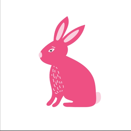 Cute little pink bunny rabbit . Vector illustration for east Vector