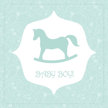 scrapbook background: Vector cute greeting card. Its a boy card design. Vector illustration with cartoon horse. Illustration