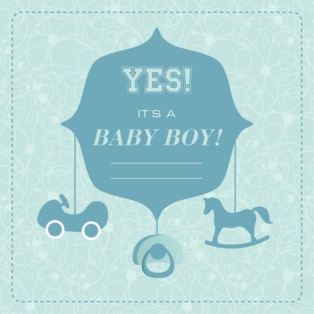Vector cute greeting card. Its a boy card design. Vector illustration with cartoon horse, car,babys dummy. Vector