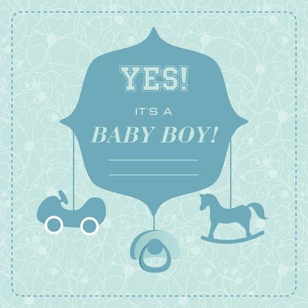 its: Vector cute greeting card. Its a boy card design. Vector illustration with cartoon horse, car,babys dummy. Illustration