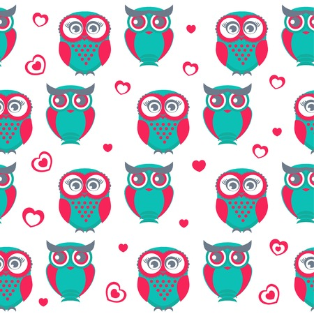 Cute owls seamless pattern. Vector Illustration. Can be used for web, paper, wrap, wallpaper, textile and other design. Valentine`s background. Vector