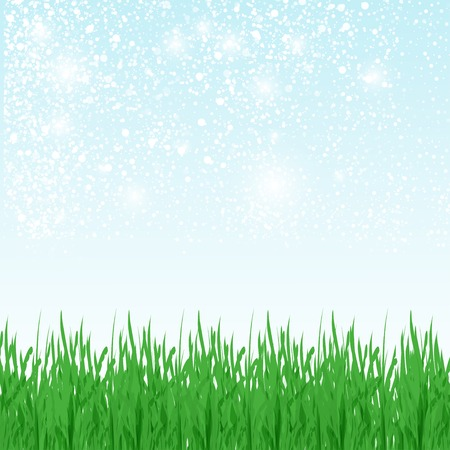 Vector illustration of green summer field with green grass, blue sky and place for your text