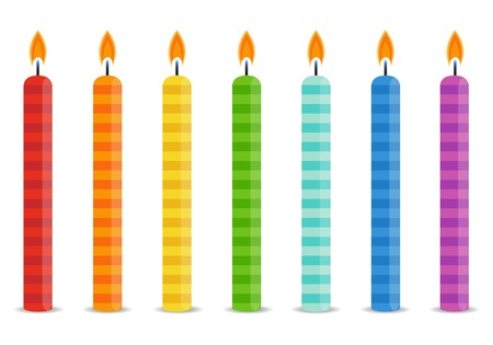 burning candle: Set of color Birthday candles in bright colors