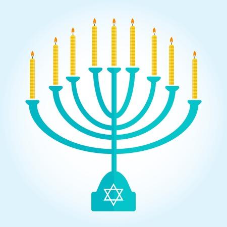 channukah: jewish holiday Hanukkah background with menorah Burning candles isolated on white Illustration