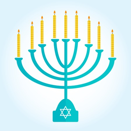 jewish holiday Hanukkah background with menorah Burning candles isolated on white Illustration