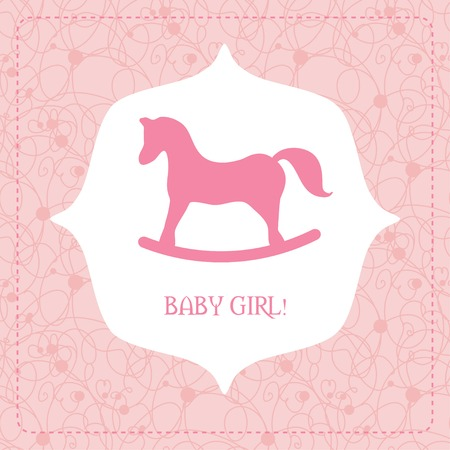 its: Vector cute greeting card. Its a boy card design. Vector illustration with cartoon horse. Illustration