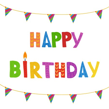pink cake: Greeting card with Birthday candles in bright colors with text Happy Birthday.