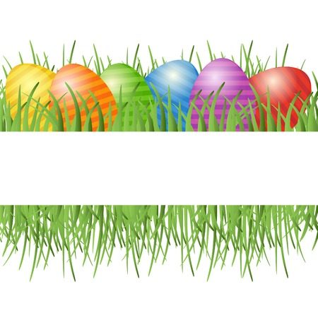 ester: Easter card with eggs on green grass and place for your text